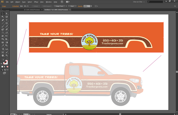 Export accurate vehicle wrap artwork for printing using templates