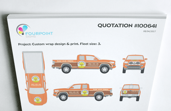 Example of vehicle template used on a wrap quotation